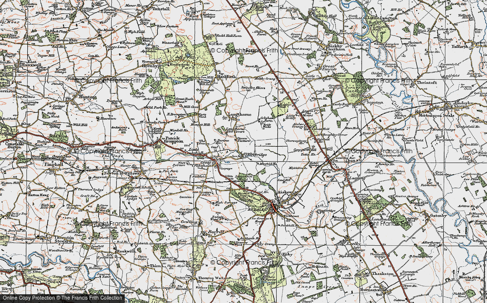 Old Map of Historic Map covering Langthorn Wood in 1925