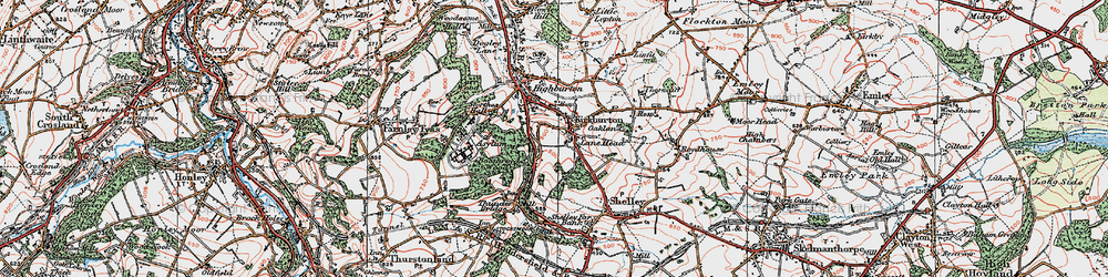 Old map of Kirkburton in 1924