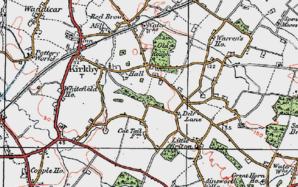 Old map of Kirkby in 1923