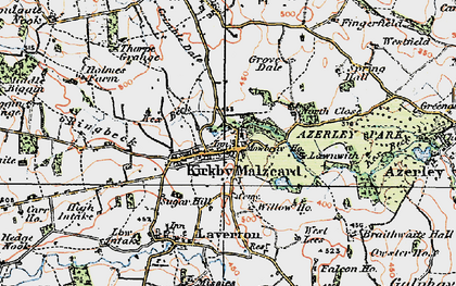 Old map of Kirkby Malzeard in 1925