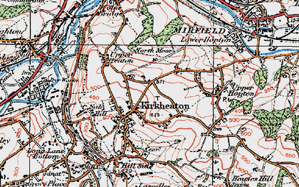 Old map of Kirkheaton in 1925