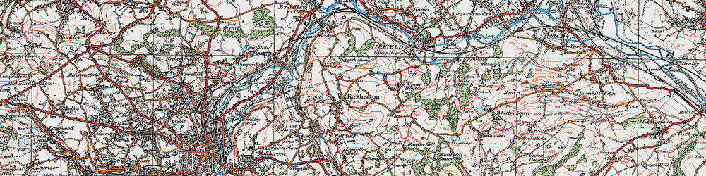 Old map of Kirkheaton in 1925
