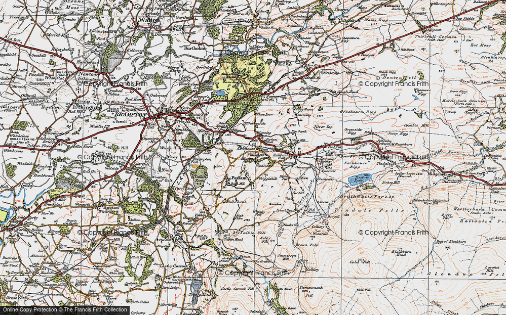 Old Map of Historic Map covering Lineholme Burn in 1925