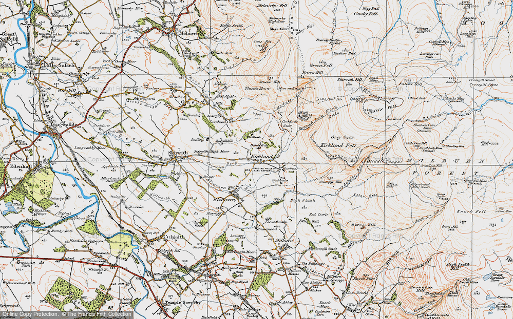 Old Map of Historic Map covering Wythwaite in 1925