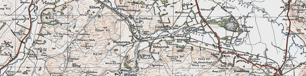 Old map of Yeavering Bell in 1926