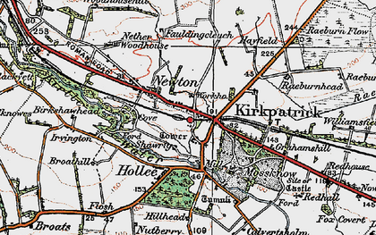 Old map of Kirkpatrick-Fleming in 1925