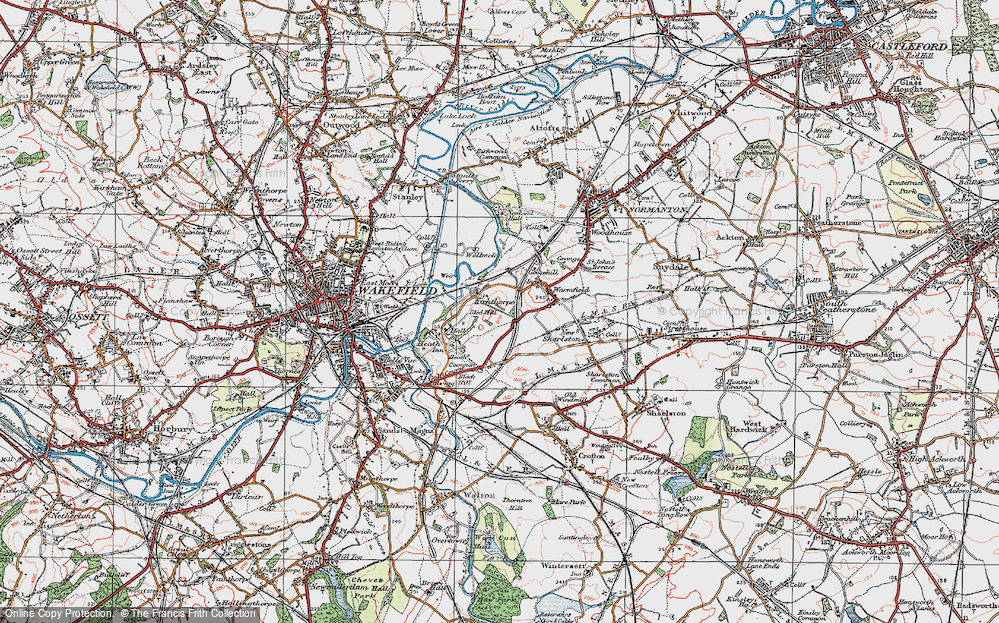 Old Map of Historic Map covering Heath in 1925
