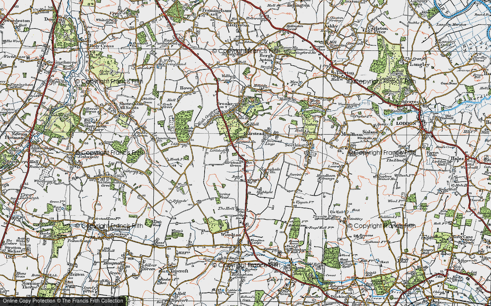 Old Map of Kirstead Green, 1922 in 1922