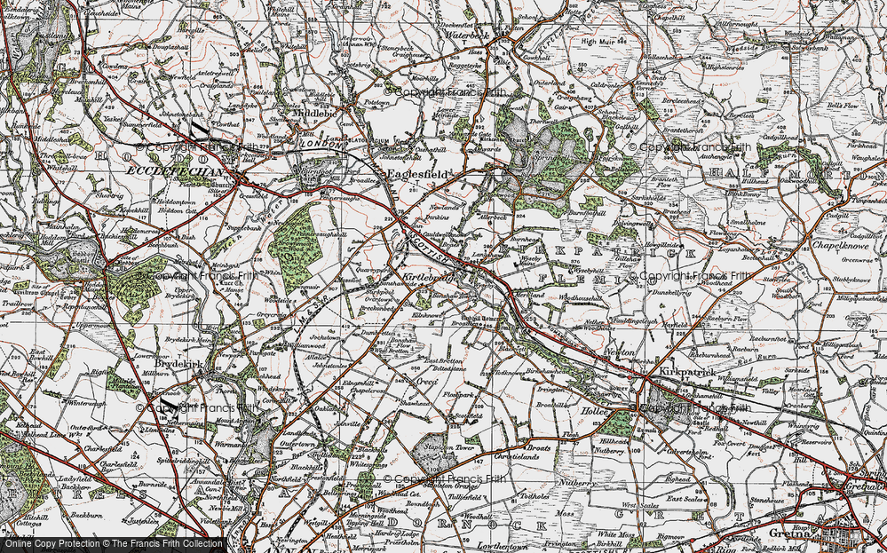 Old Map of Historic Map covering Langshaw Ho in 1925
