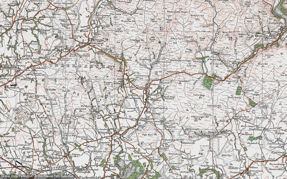 Old Map of Historic Map covering Ley Hill in 1925