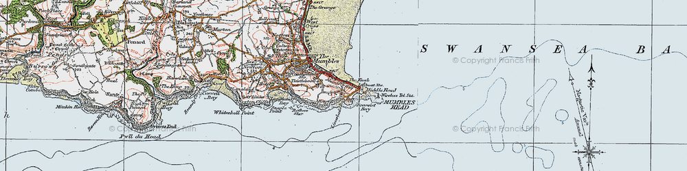 Old map of Limeslade Bay in 1923