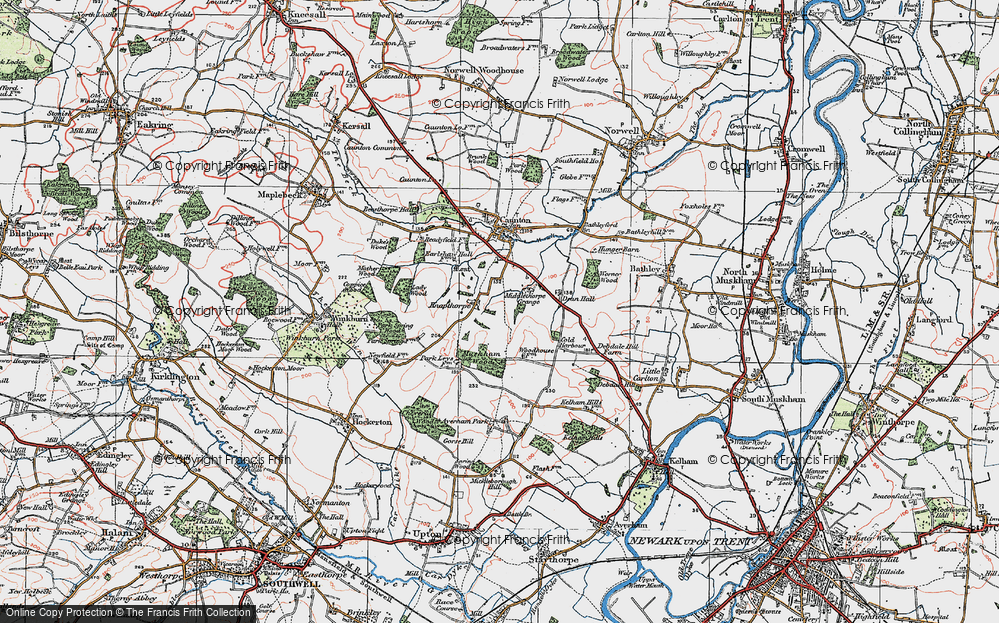 Old Map of Historic Map covering Averham Park in 1923