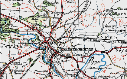Old map of Knaresborough in 1925