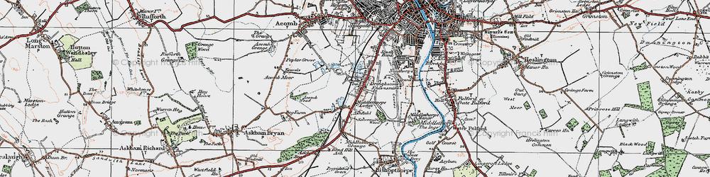 Old map of Knavesmire in 1924