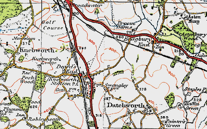 Old map of Knebworth in 1920