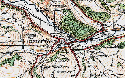 Old map of Knighton in 1920