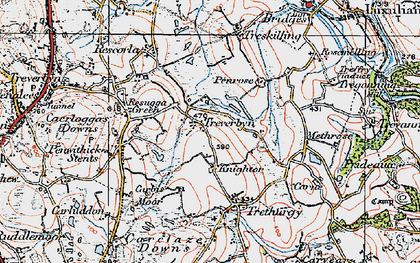 Old map of Knightor in 1919