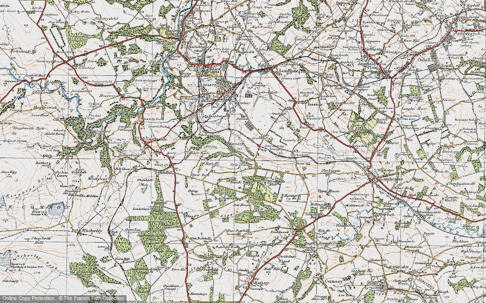 Old Map of Historic Map covering Woodlands Hall in 1925