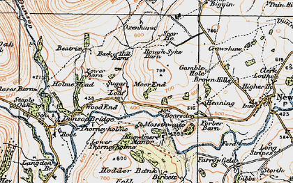 Old map of Back of Hill Barn in 1924