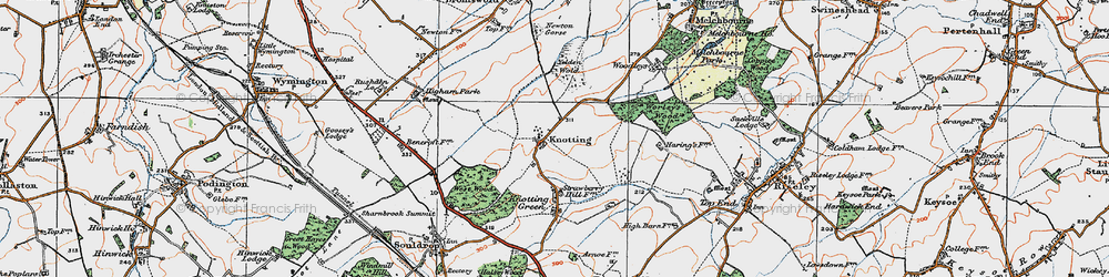 Old map of Yelden Wold in 1919