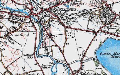 Old map of Penton Hook in 1920