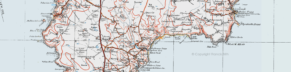 Old map of Kennack Sands in 1919