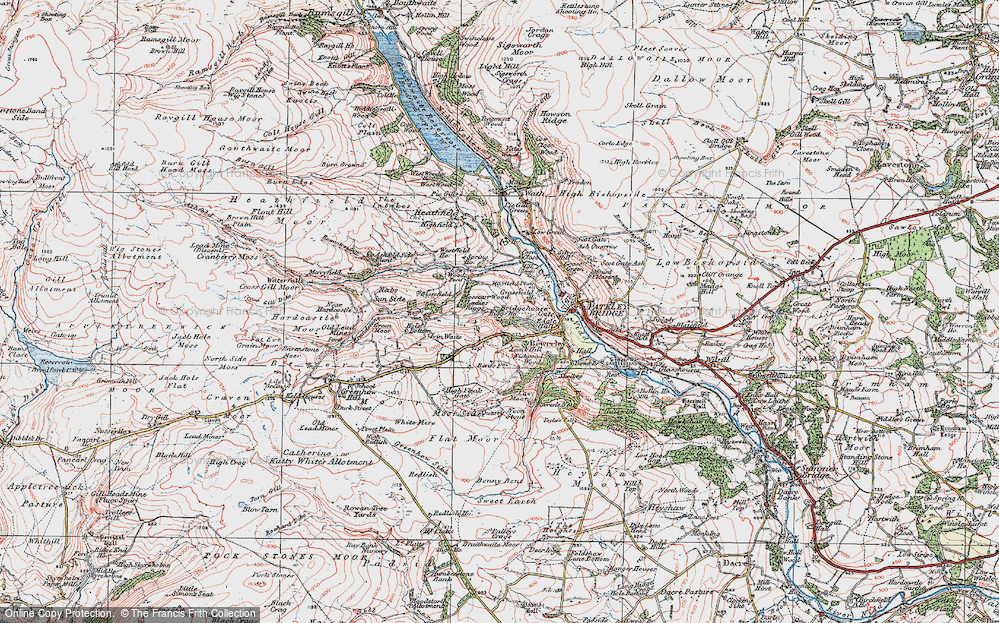 Old Map of Historic Map covering Toft Gate in 1925
