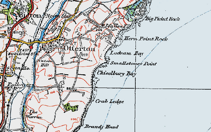 Old map of Ladram Bay in 1919