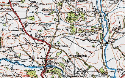 Old map of Ladycross in 1919