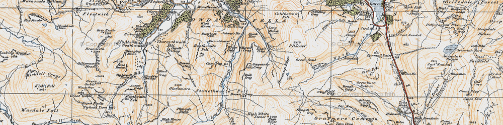 Old map of Langstrath Beck in 1925