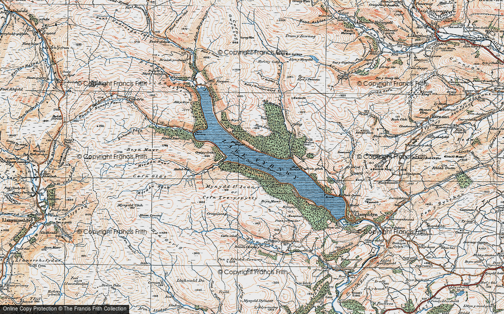 Old Map of Historic Map covering Allt y Gribin in 1921