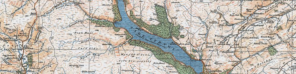 Old map of Afon Cedig in 1921