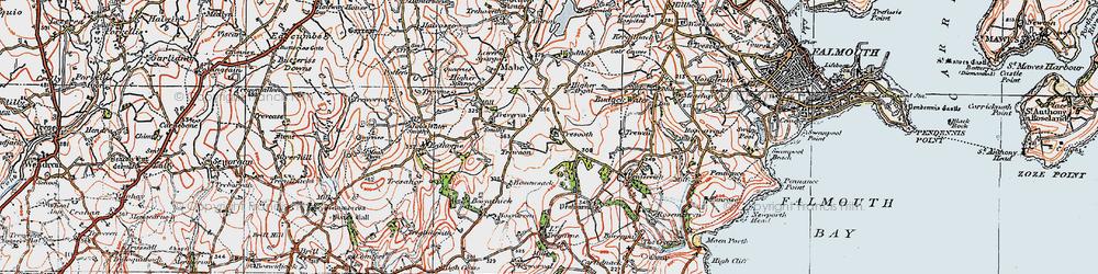 Old map of Argal Manor in 1919