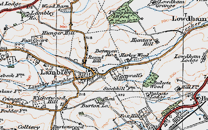 Old map of Lambley in 1921