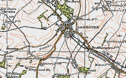 Old map of Lambourn in 1919