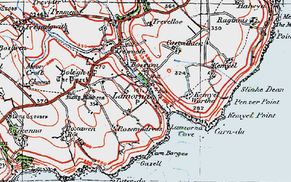 Old map of Lamorna in 1919