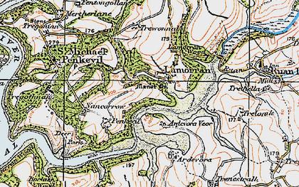 Old map of Lamorran in 1919