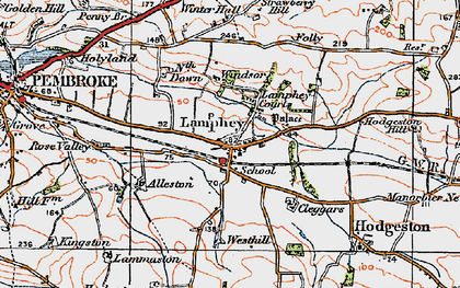 Old map of Lamphey in 1922