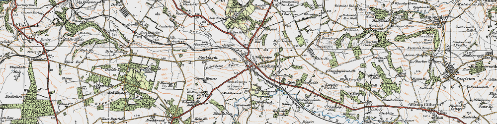 Old map of Alderdene Burn in 1925