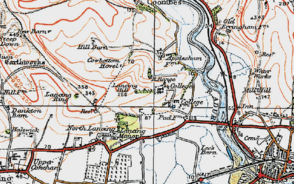 Old map of Lancing College in 1920