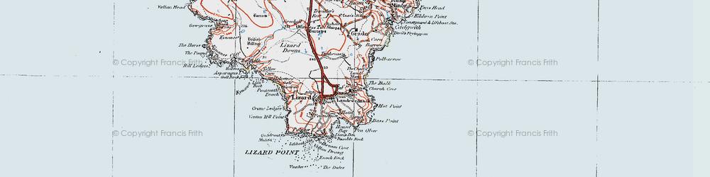 Old map of Landewednack in 1919