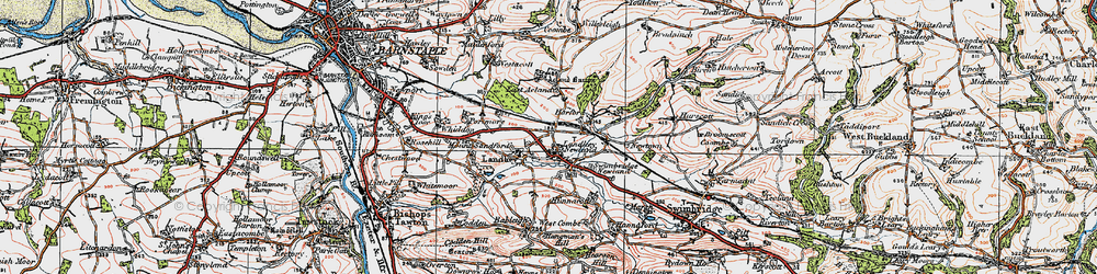 Old map of Acland Barton in 1919