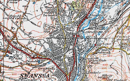 Old map of Landore in 1923