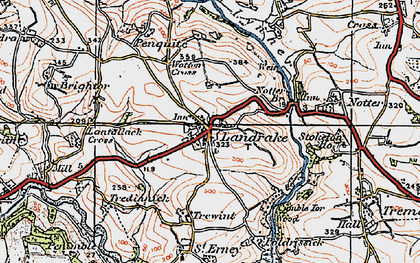 Old map of Landrake in 1919
