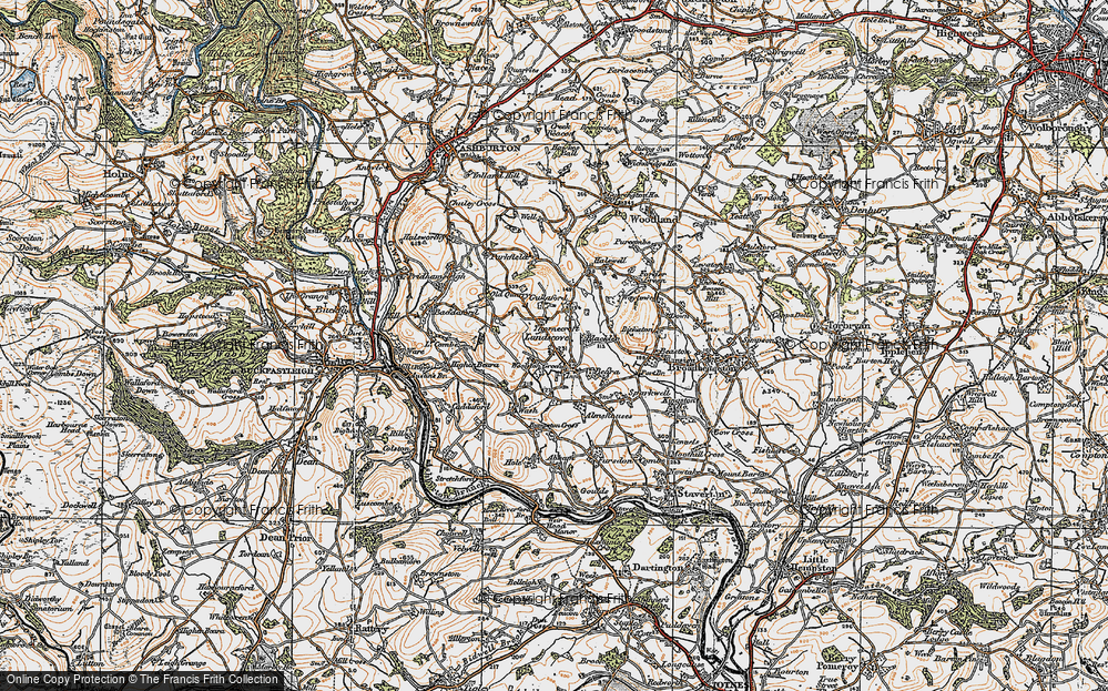 Old Map of Historic Map covering Barkingdon Manor in 1919