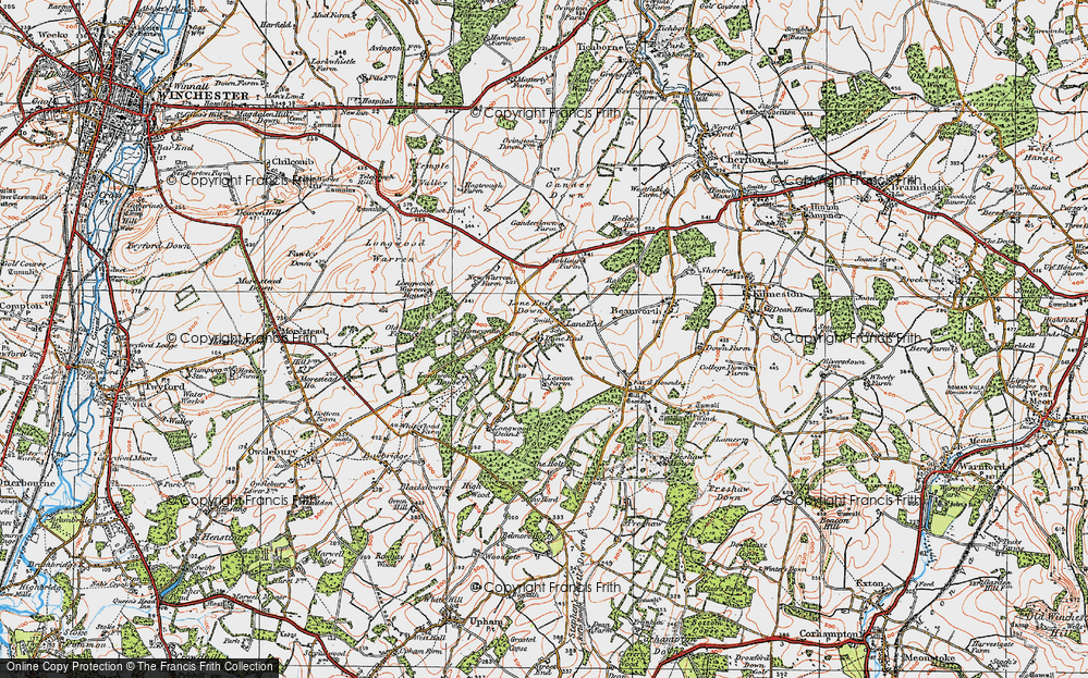 Old Map of Historic Map covering Lane End Down in 1919