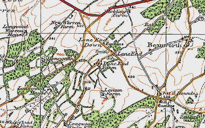 Old map of Lane End Down in 1919