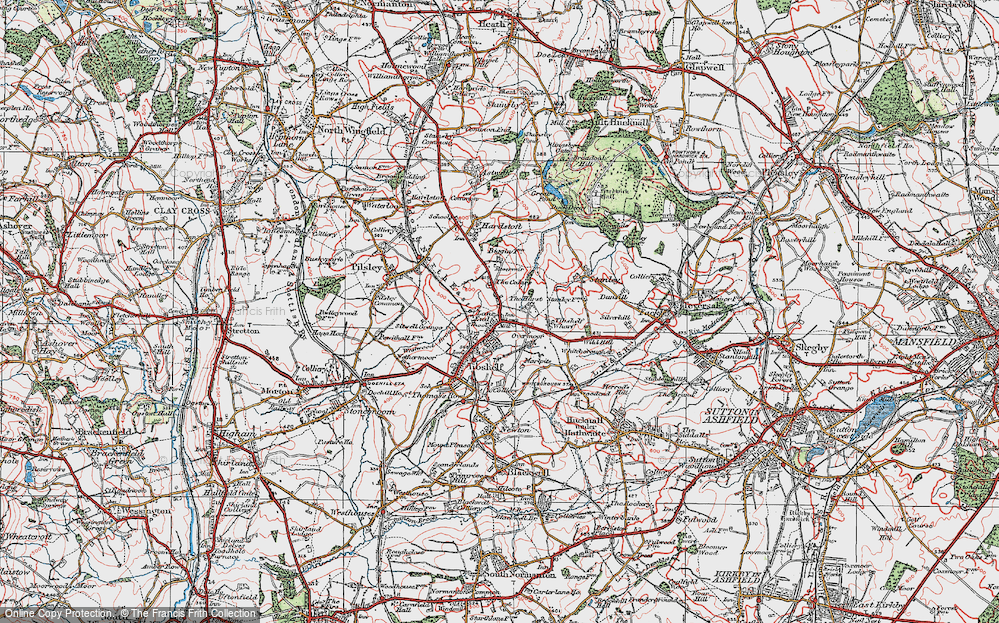 Old Map of Historic Map covering Tibshelf Services in 1923