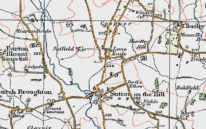 Old map of Lane Ends in 1921