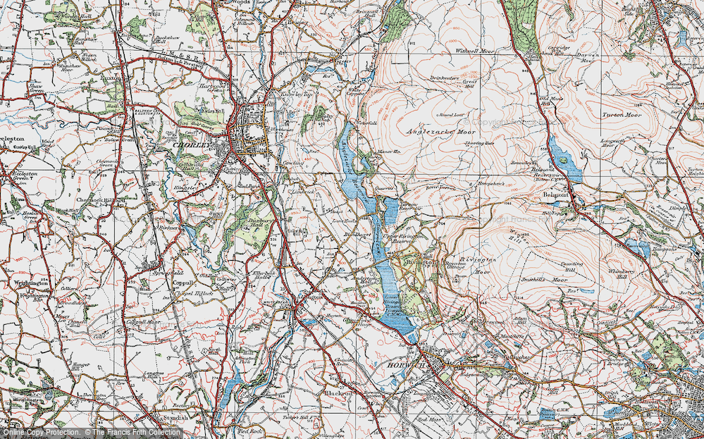 Old Map of Lane Ends, 1924 in 1924